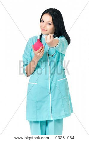 Young female doctor with enema, isolated on white background