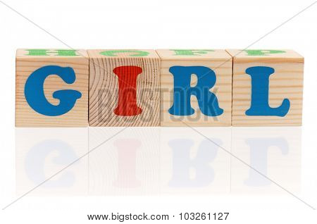 Girl word formed by wood alphabet blocks on white background