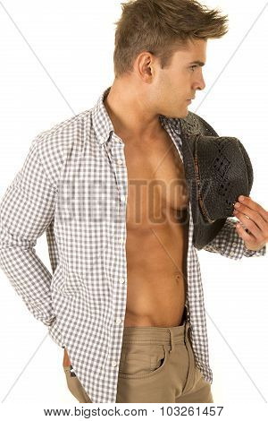 Cowboy Checkered Shirt Open Hat In Hand Look Side