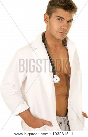 Doctor With Open Jacket Serious Expression Look