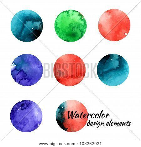 Watercolor Design Elements.