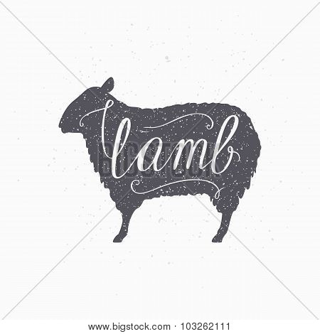 Hipster Style Sheep Silhouette. Lamb Meat Hand Lettering