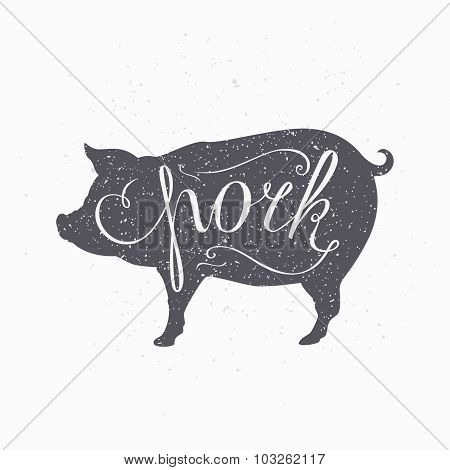 Hipster Style Pig Silhouette. Pork Meat Hand Lettering