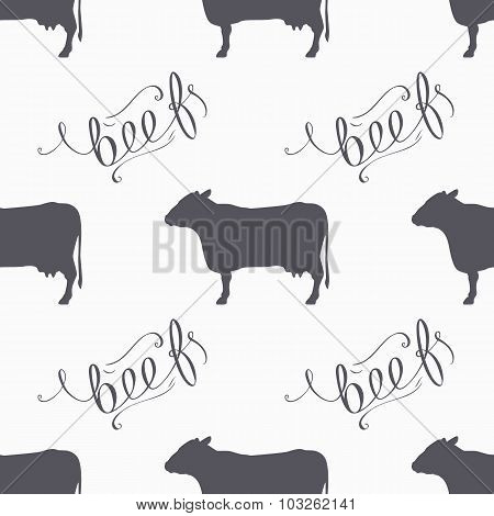 Hipster Style Cow Seamless Pattern. Beef Meat Hand Lettering
