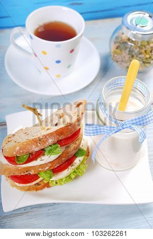 Diet Breakfast With Caprese Sandwich