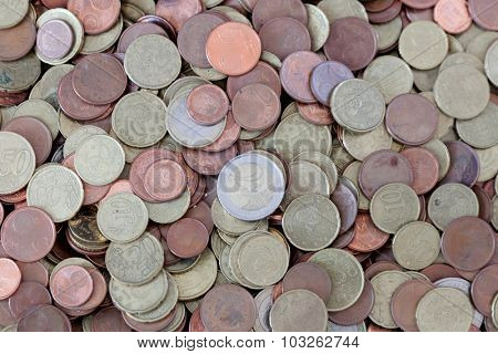 Many coins scattered euro. Cash Currency
