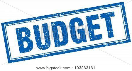 Budget Blue Square Grunge Stamp On White
