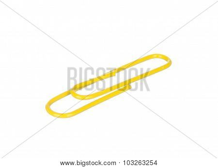 Yellow Paper Clip Isolated On White
