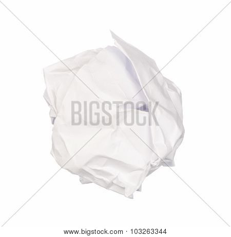 Vintage Crumpled White Paper Isolated On White