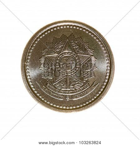 Brazil Is One Centavo Coin Isolated On White Background. Top View.