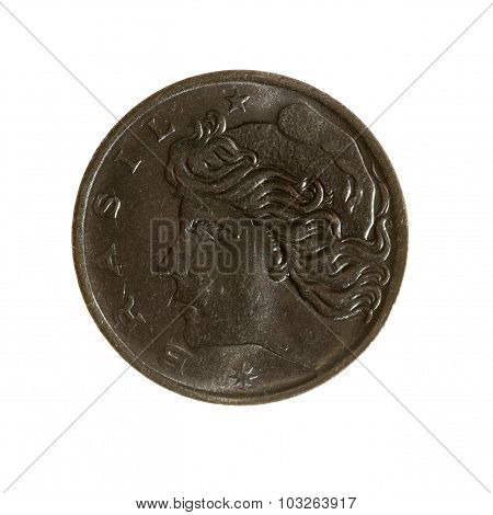 Brazil Is One Centavo Coin Isolated On White Background. View Sverhu.1975 Year.