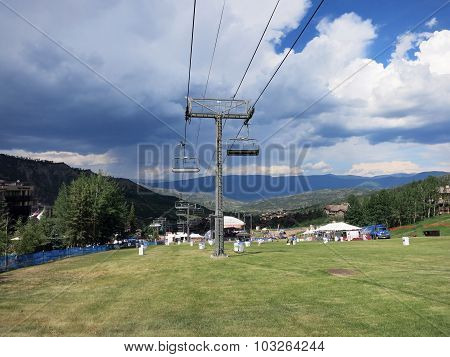 Concert Field With Ski Lift During Wanderlust Festival