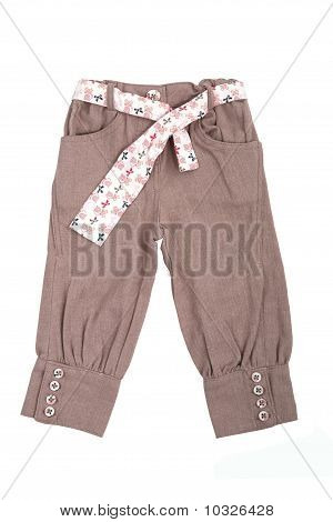 Beige Baby Trousers With Belt