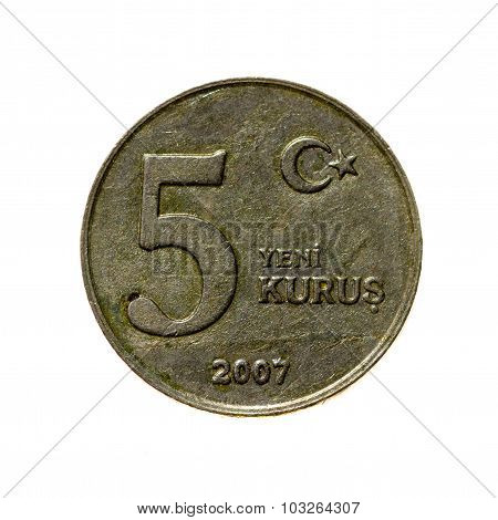 Coin Five New Kurush Turkey Isolated On A White Background. Top View.