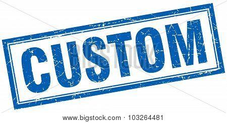 Custom Blue Square Grunge Stamp On White