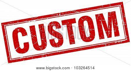 Custom Red Square Grunge Stamp On White