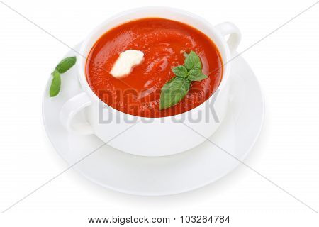 Tomato Soup Meal In Cup With Tomatoes Isolated