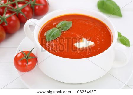 Tomato Soup Meal With Tomatoes And Basil In Bowl