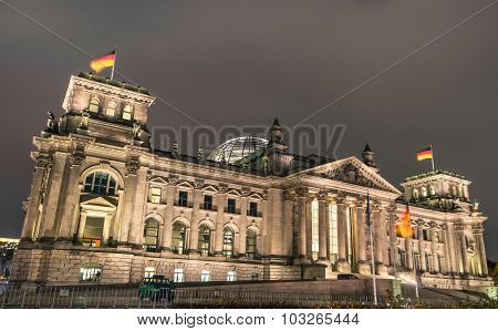 Berlin Germany - October 16: Night Perspective View Of The Reichstag - German Parliament House