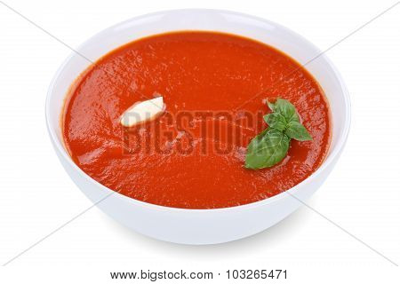 Tomato Soup Meal In Bowl With Tomatoes Isolated