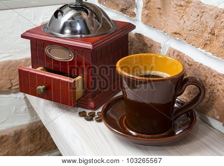 Cup Of Coffee, Coffee Grinder. Still Life