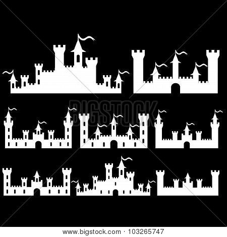 Set Of Fantasy Castles Silhouettes For Design. Isolated On Black Background. Vector