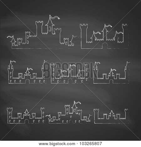 Set Of Fantasy Castles Chalk Silhouettes For Design. Isolated On Grey  Background. Vector