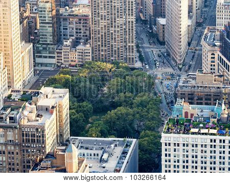 NEW YORK,USA - AUGUST 15,2015 : Aerial view of midtown New York with Madison Square and the Flatiron building
