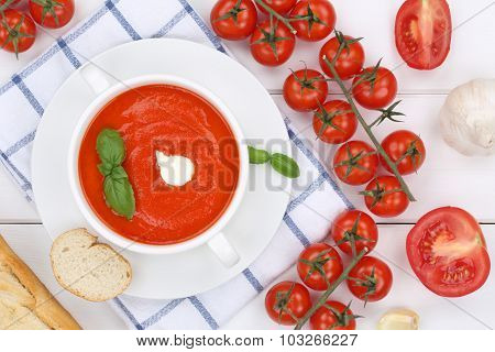 Tomato Soup Meal With Tomatoes In Cup From Above