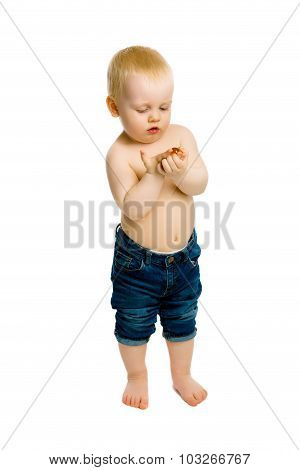 Curious Baby Boy. Full Length. Studio. Isolated