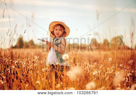 cute child girl in straw and jeans vest playing with blow balls on summer field