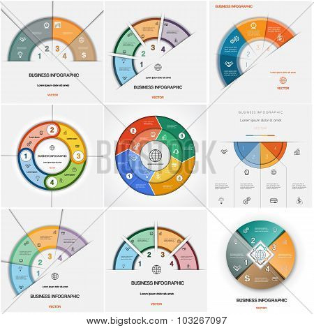 Set 9 Templates Infographics Cyclic Processes.four Positions