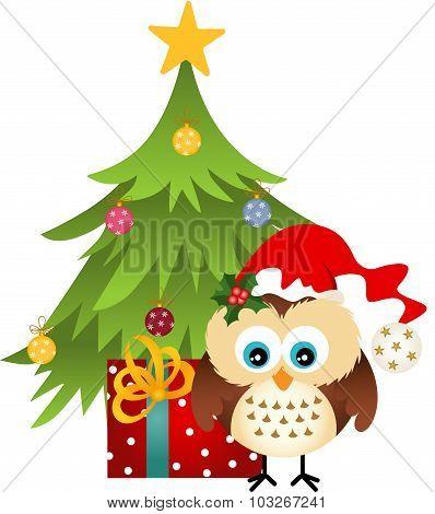 Owl with Christmas tree and gift