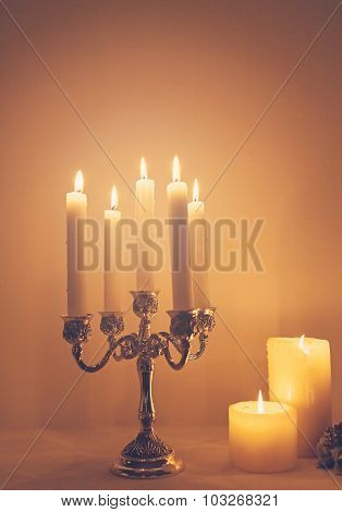 Candels in retro candelabra