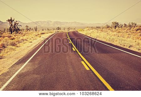 Retro Old Film Style Usa Endless Country Highway, Travel Adventure Concept.