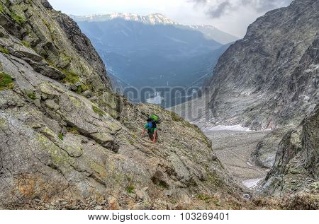Climber in mountains.