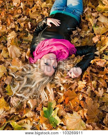 Beautiful Girl In Colorful Autumn Forest
