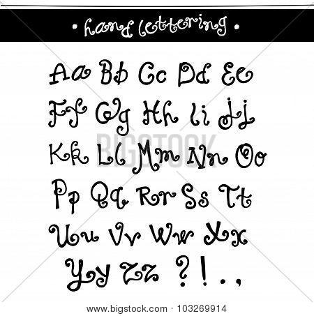 Whimsical, fun hand drawn original alphabet