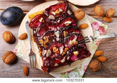 Homemade Plum Cake With Walnuts And Almonds