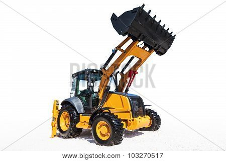 Excavator, Isolated On White With Clipping Path