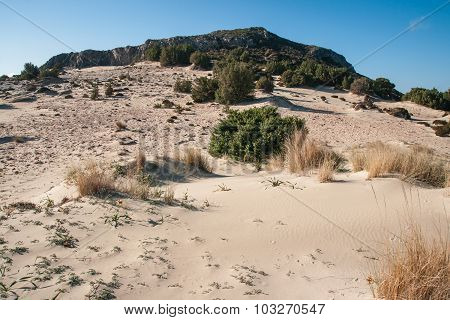 Sand Dune On The Simos Beach, Elafonisos, Greece