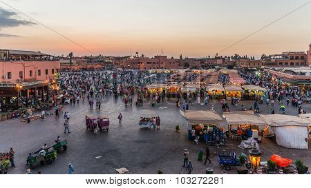 Marrakech, Morocco - Circa September 2015 - Sunrise Over Marrake