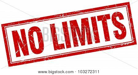 No Limits Red Square Grunge Stamp On White