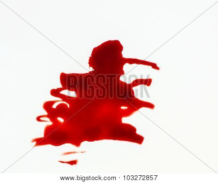 Abstract Fresh Blood On White Background