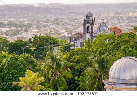 Old Historic Colonial Style Church With Palm Trees And Tropical Vegetation
