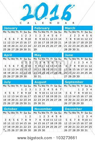 Simple Calendar Design for 2016 Year