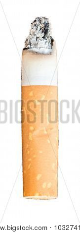 Close Up Of Burning Cigarette Isolated On White Background