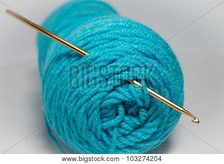 Crochet hook in yarn