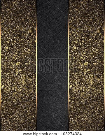 Golden Sand With Black Ribbon. Element For Design. Template For Design. Copy Space For Ad Brochure O