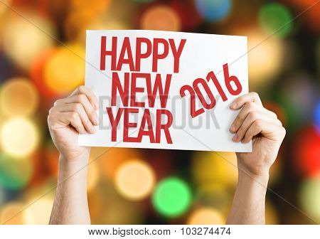 Happy New Year 2016 placard with bokeh background